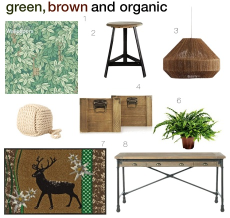 Make an entrance that's green, brown and organic