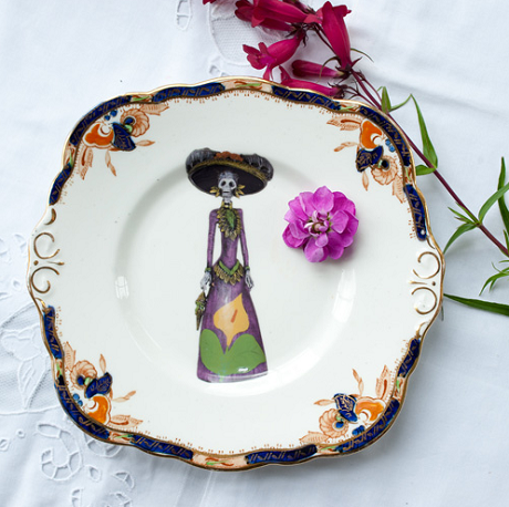 vintage china updated with hip illustrations