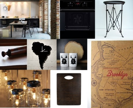 New York loft style black kitchen