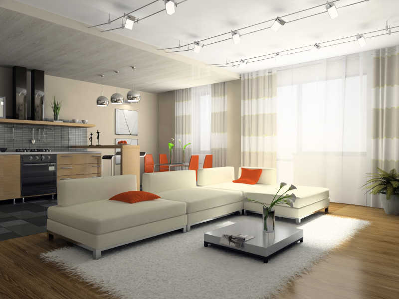 Great Lighting In Houses. Interior Of The Stylish Apartment 3d Rendering Lighting  In Houses A Part 14