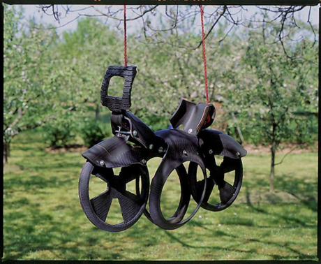 Recylcled tyre swing from Hibbitt of Oswestry