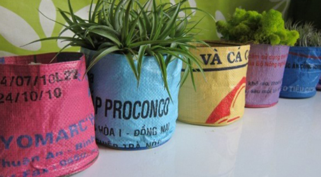 Rice bag planters by Garden Beet