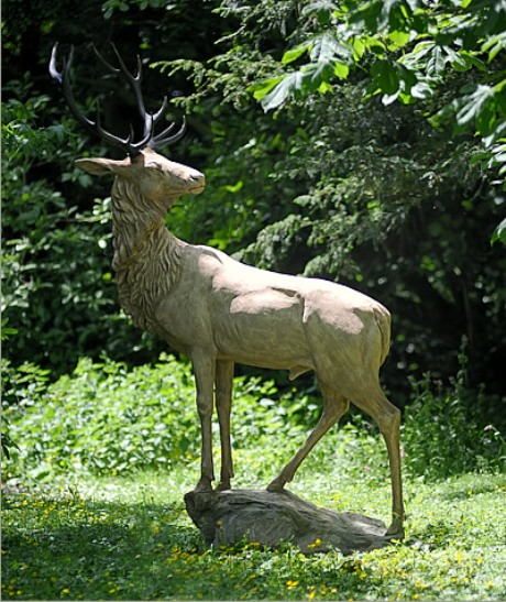 Stone stag by Cavendish Stone