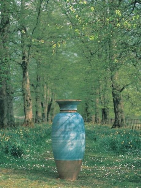 Tall Bluegreen urn by Philip Simmonds