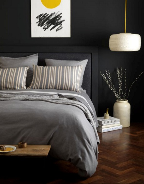 The Secret Linen Store - Denim stripe graphite and sand bed linen