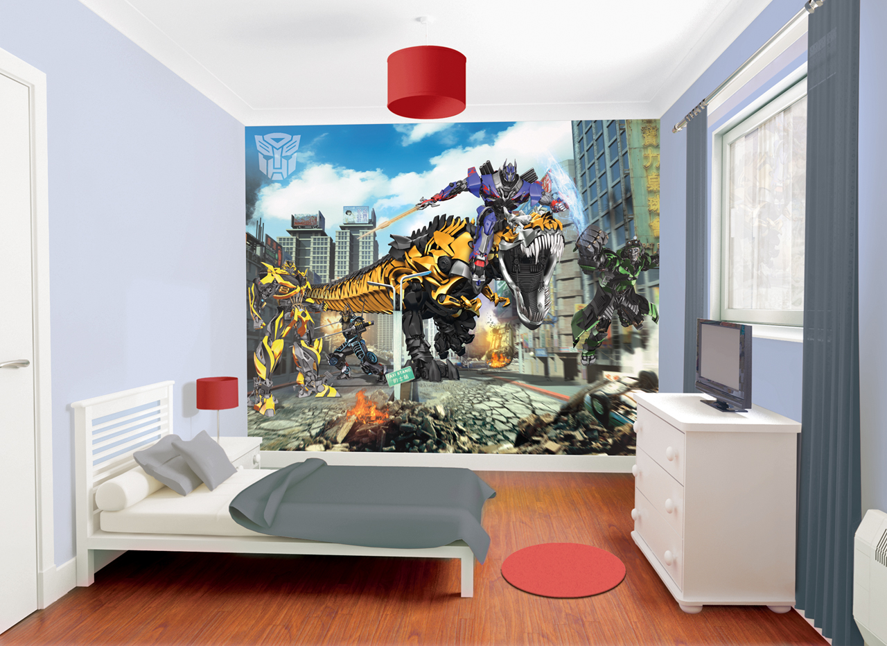 win a transformers wallpaper mural heart home. Black Bedroom Furniture Sets. Home Design Ideas