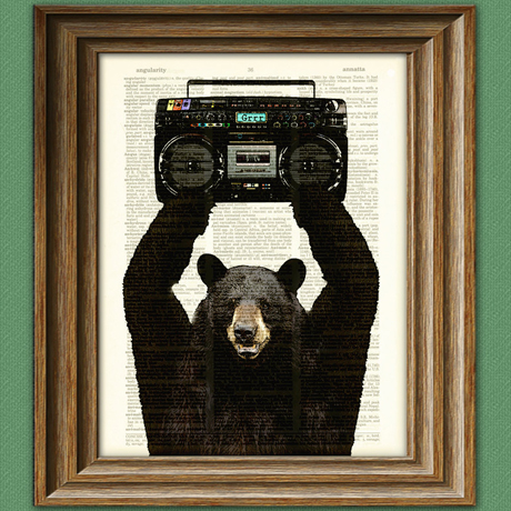 Bear print on vintage dictionary page by collageOrama