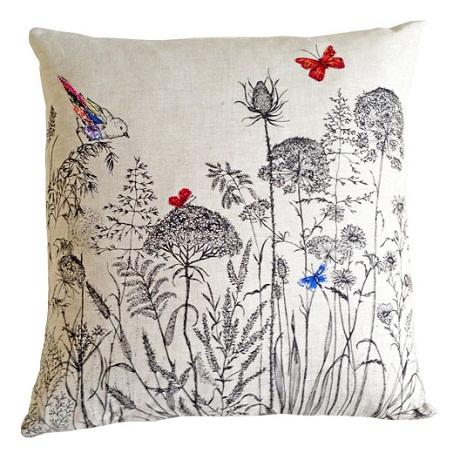 chatsworth & grey meadow grasses cushion