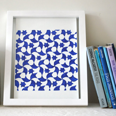 Islamic inspired linocut art print