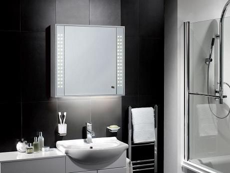 pebble grey illuminated mirror cabinet