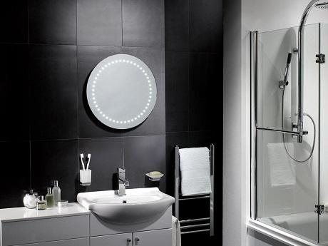 pebble grey illuminated mirror