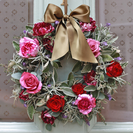 pink red silver foliage door wreath-Real-Flower-Company