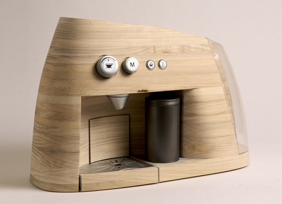 wooden coffee machine