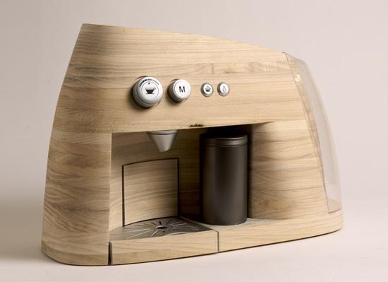 Wooden coffee machine by Linje