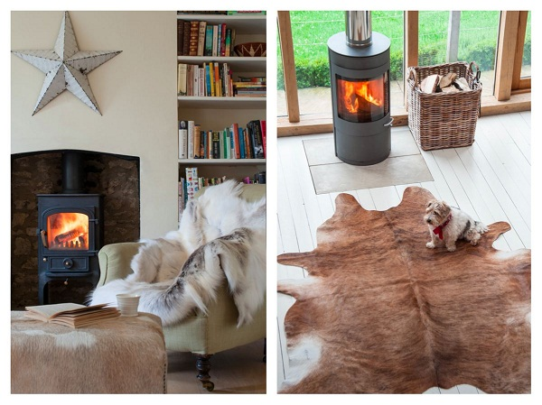 Clockwise from Left:  Reindeer Throw / Rug: £135, *Cow Hide Floor Rug  (various colourings) (approx. 3- 3 1/2 square m): from £245,