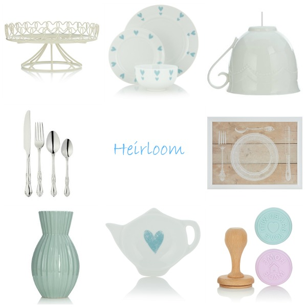 From top left clockwise: Hearts Cake Stand; Hearts Dinner Set - 12 Piece; White Teacup Lampshade; Vintage Lap Tray; Baking Stamps Set; Hearts Tea Bag Rest;  Ribbed Ceramic Vase; Duchess Cutlery Set 16 Piece.