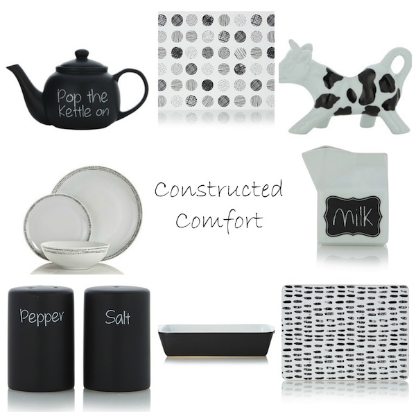 From top left clockwise: Chalked Teapot; Monochrome Wipe Clean Placemat; Printed Cow Milk Jug; Chalked Milk Carton; Mark Making Placemat - Set of 4; Roaster 36cm Charcoal; Chalked Salt & Pepper Shakers; Monochrome 12 Piece Dinner Set.