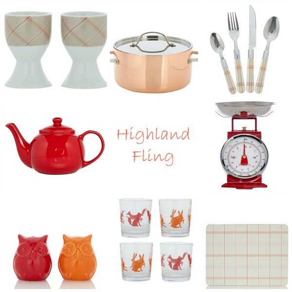 From top left clockwise: Check Egg Cups - Set of 2; Copper Tri Ply Stockpot; 16 Piece Check Cutlery Set; Traditional Kitchen Scale Red; Check Placemat - Set of 4; Fox and Hare Mixers - 4 Pack; Owl Salt and Pepper Shakers; Red Teapot.