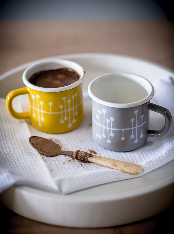 Enamel Muscat patterned mugs, £12.50 each.
