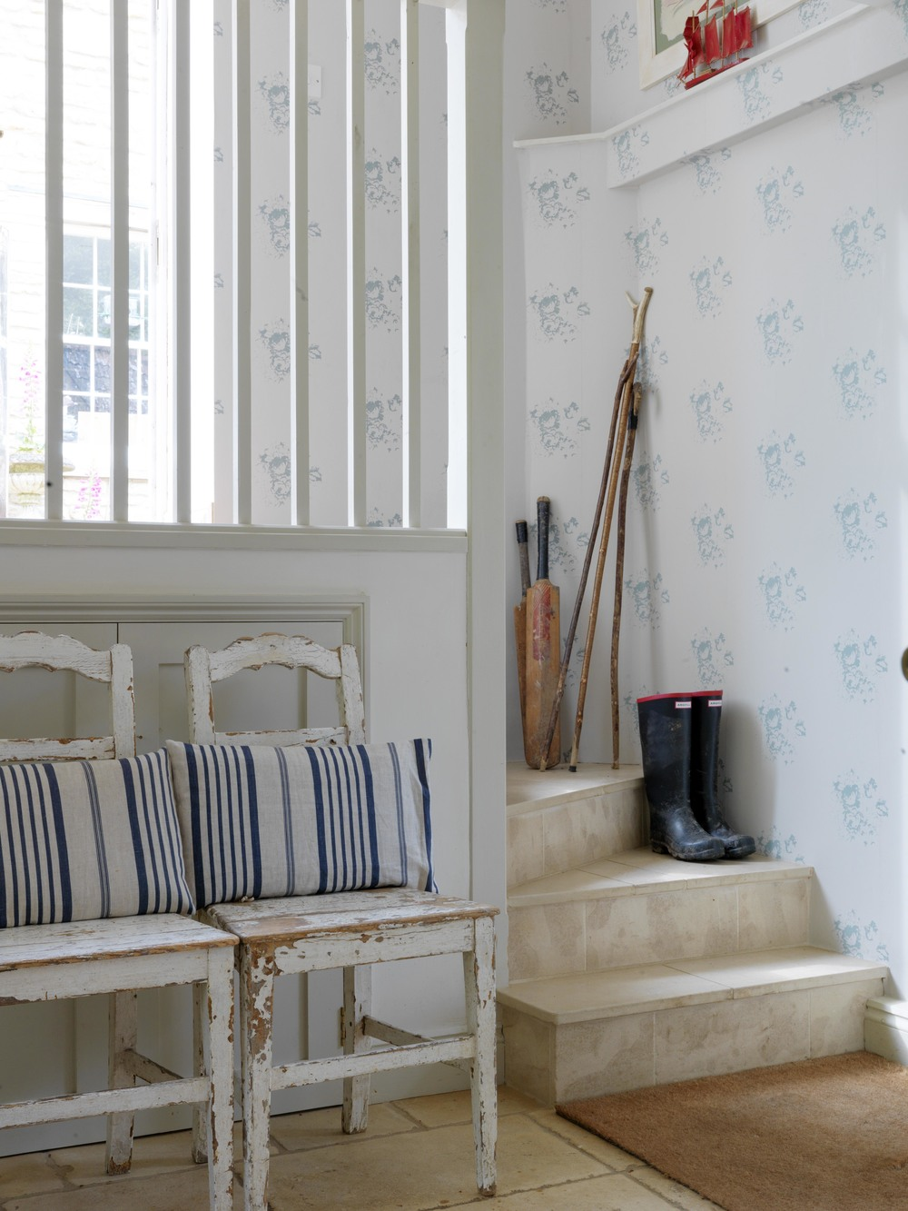 Natural Hatley Blue Wallpaper, Price - £28 per metre