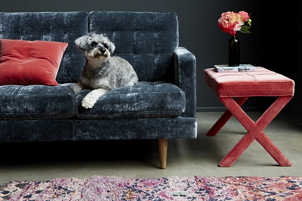 Abigail 3 seat sofa in Hudson, Roosevelt Velvet £1,810, Maud rectangular footstool in Dusty Rose Velvet, £255