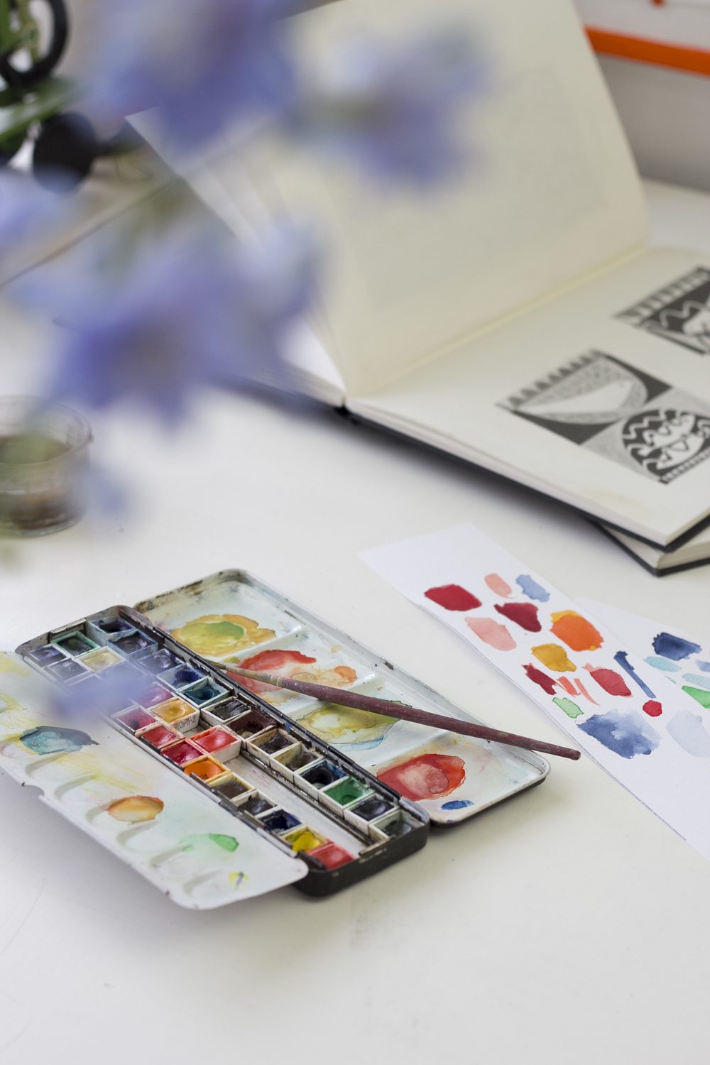 Sarah often uses watercolours as part of her design process.