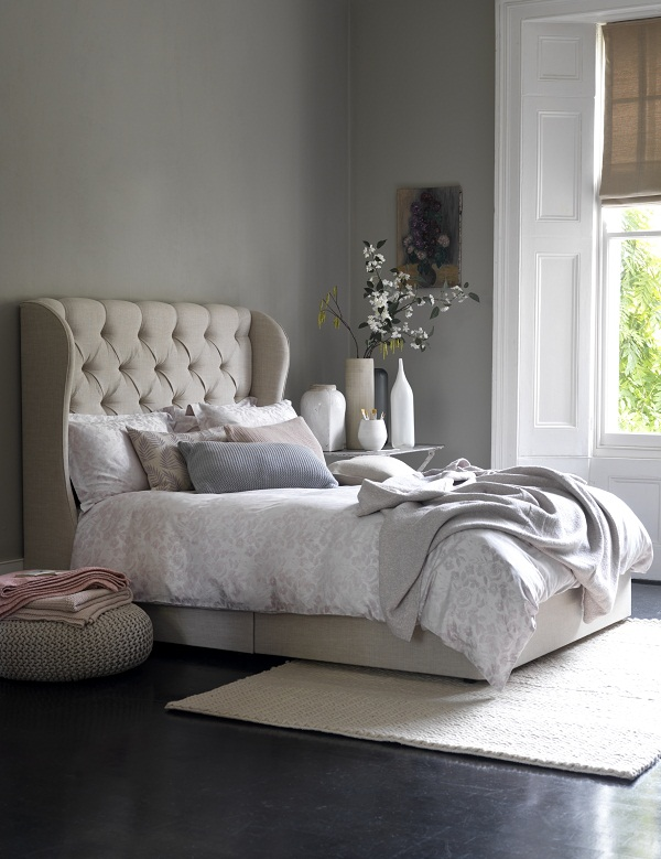 Camelia Double Divan in Linwood oatmeal luxury linen £1,185.
