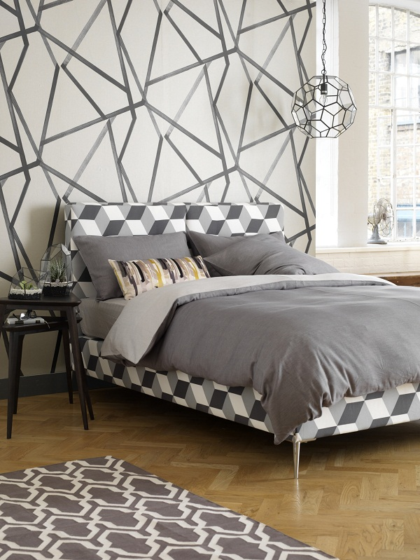 Campion Bedstead Double  Korla Cubes Steel  £1,026.