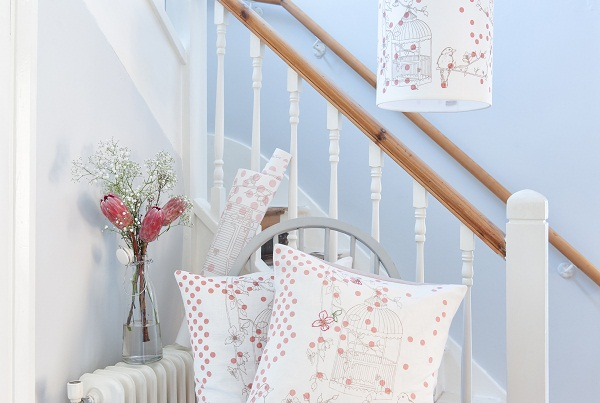 Dotty Bird Rose Pink & Charleston Grey Collection