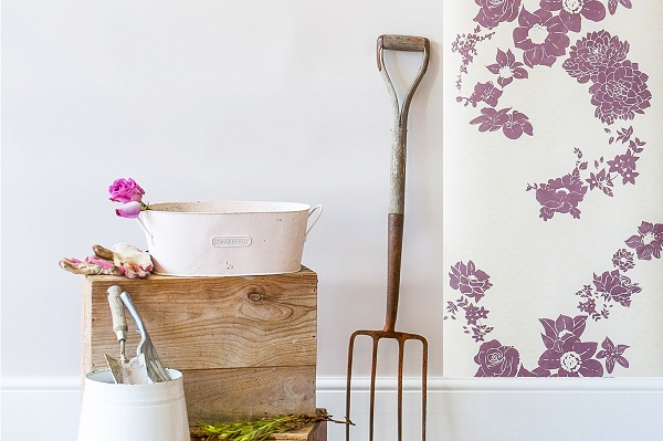 Geometric Flower Wallpaper, Cream & Plum Purple