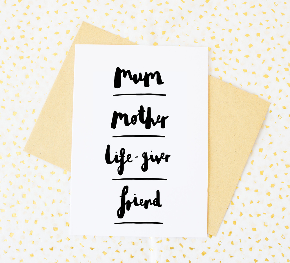 Mother's day card from Lola Design. 50p of all sales from this card will go to Women's Aid, the UK charity helping women and children who are victims of domestic abuse.