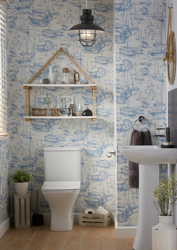 This Colours look at B & Q was inspired by bringing nautical style bang up to date. The statement on trend boat scene wallpaper sets the tone of the room ...