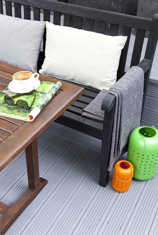 Decking: Cuprinol Anti Slip Decking Stain (RRP £24.09 for 2.5L)  in Silver Birch. Benches: Cuprinol Garden Shades (RRP £24.99 for 2.5L) in Black Ash. Table: Cuprinol Garden Furniture Stain(RRP £12.69 for 750ML) in Mahogany.