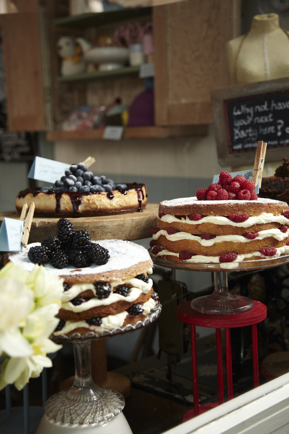 A selection of cakes at The Haberdashery