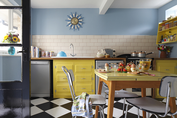 Sky-blue walls and sunny yellow furniture capture the enthusiasm for colour popular in the post-war period. After years of decorating with a restricted palette the opportunity to brighten up was eagerly embraced.
