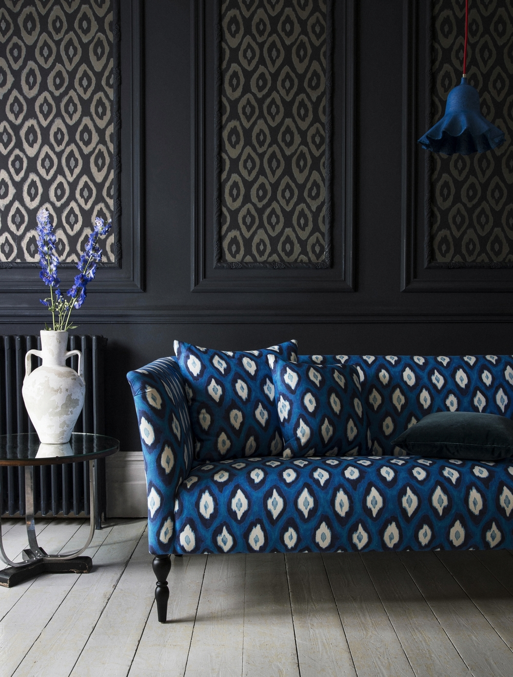 Avalon two seat sofa in Electric Ikat Cobalt £1,090, large cushion £80, small cushion £70