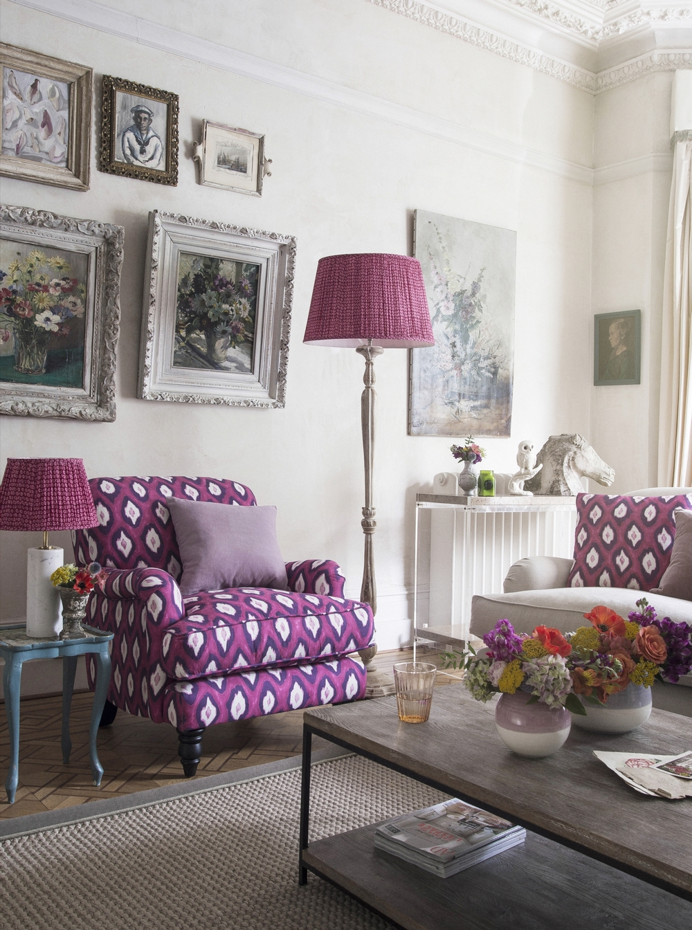 Snowdrop armchair (small) in Electric Ikat Magenta £1,000, large cushion £80 small cushion £70