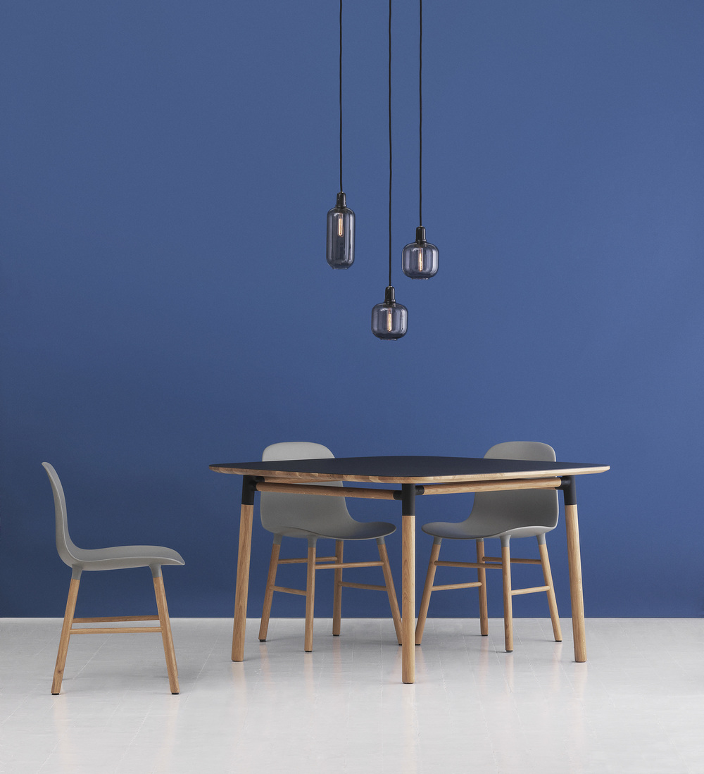 Normann Copenhagen Form Table, £999; Normann Copenhagen Form Chairs, Grey Oak, £169 each