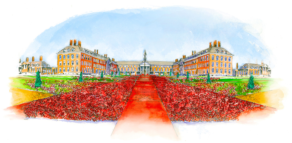 RHS Chelsea Flower Show - 5000 Poppies artist impression (credit Colin Jackson)