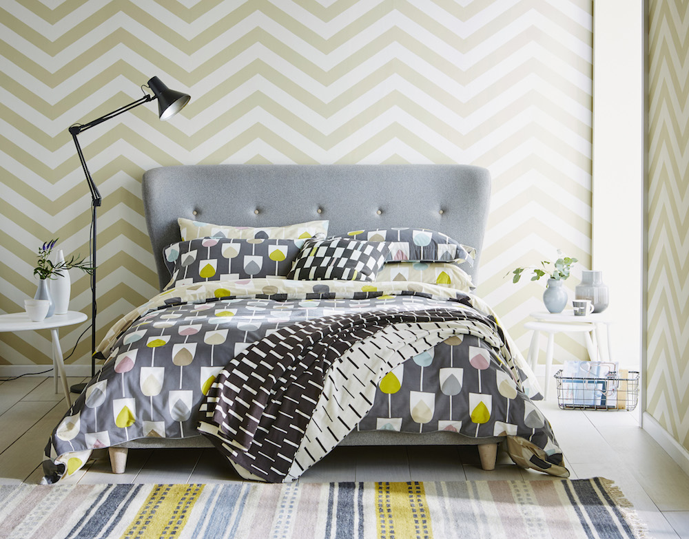 Sula Double Duvet Cover (200 x 200cm): £65.00 ; Sula Pillowcases: Oxford Pillowcase: £12.00 /each, Housewife Pillowcase £18.00 /pair; Cushion: Sula Cushion £25.00; Throw: Sula Throw (150 x 200cm) £95.00; Wallpaper: Lohko, Vector 111304 £49.00 p/roll; Mug: Mr Fox, Steel £10.00; Rug: Rivi, Taupe (200 x 280cm) £479.00.