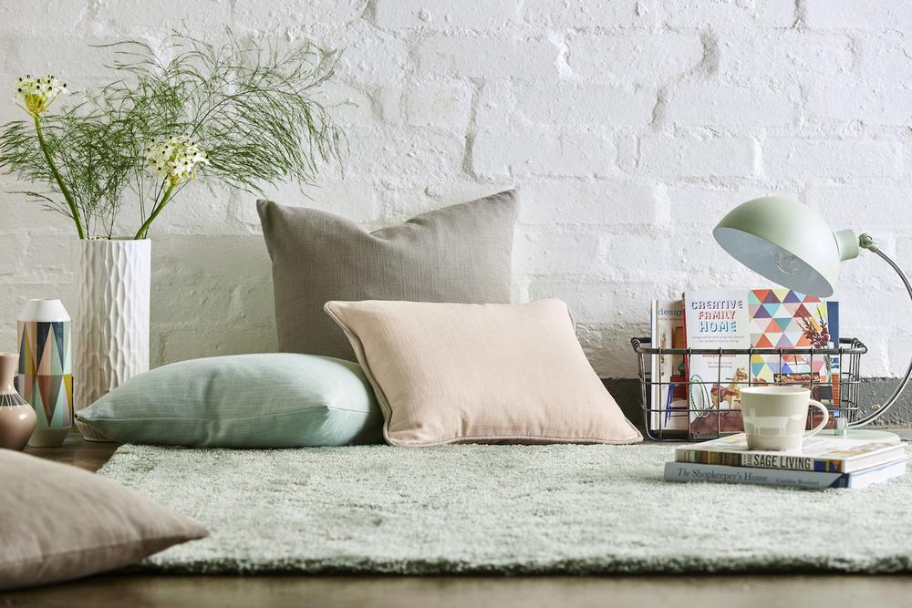 Cushions: Riko Blush 132081 £30/mtr, Plains 1 + 1 Fossil 131942 £31/ mtr & Plains 1 + 1 Seaglass 131953 £31/mtr.