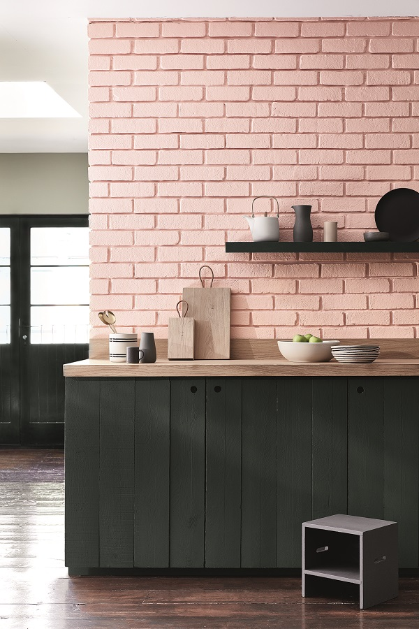 Brickwork: Confetti 274, Cupboards: Lamp Black 228, Far wall: Salix 99
