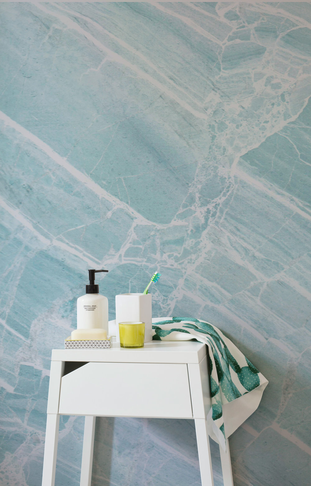 Teal Scraped Marble Wallpaper