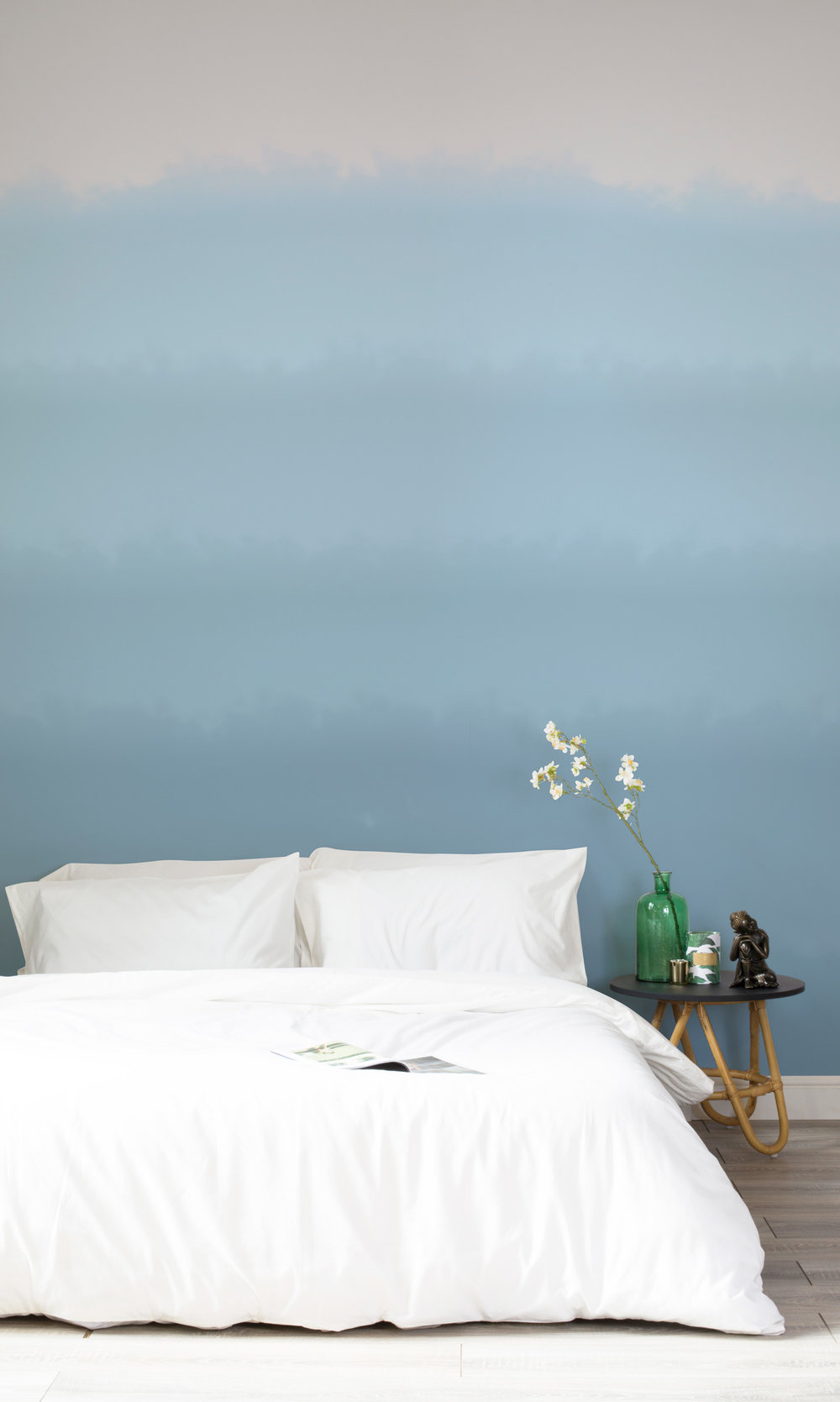 Soft Blue Paint Fade Watercolour Wallpaper