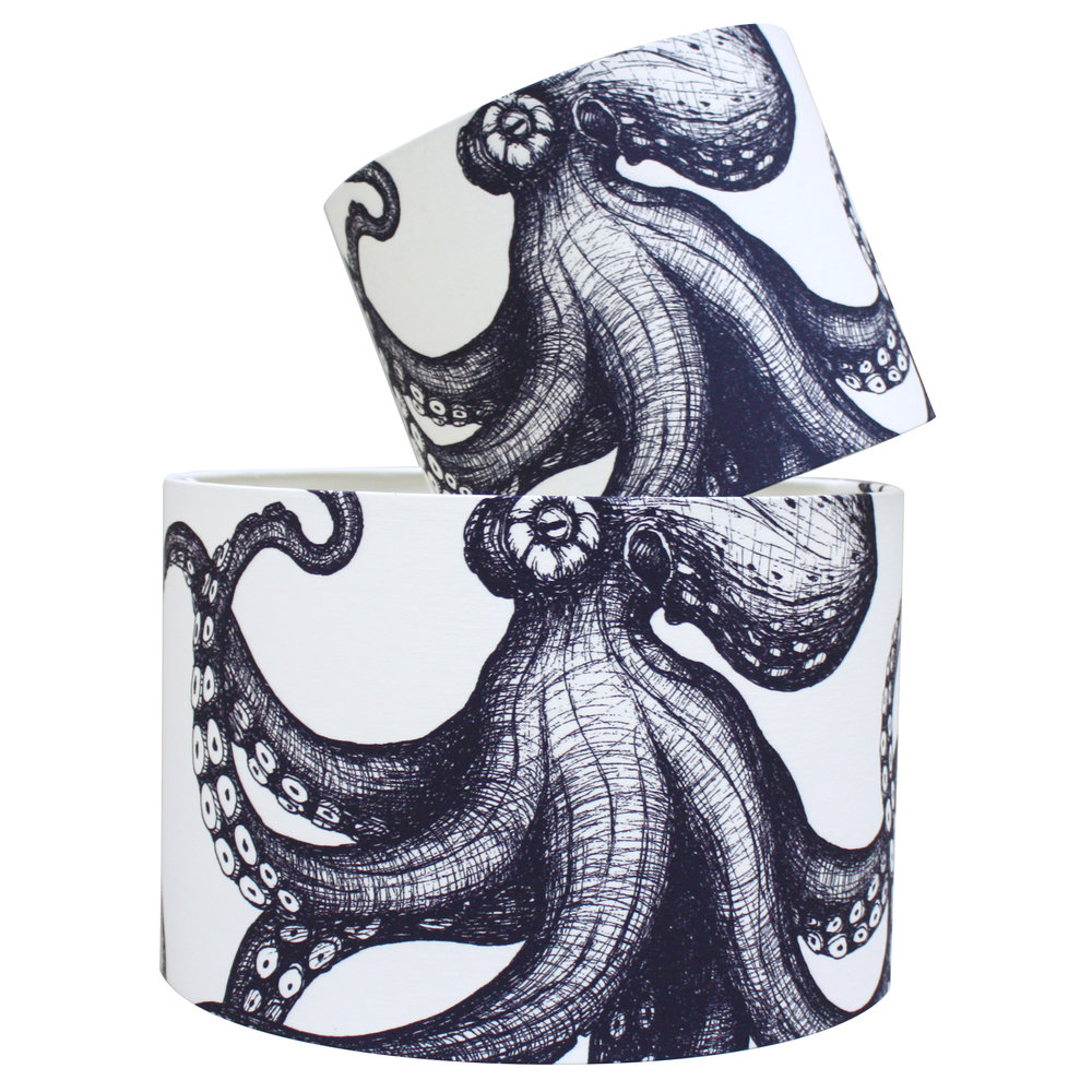 Octopus Indigo on Natural Linen Lampshade Maritime Cream Cornwall.jpg