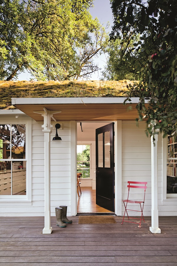 One addition to the 1940s Tiny House was a green roof, which was planted with moss and ferns gathered from the Columbia River gorge.