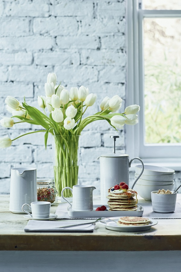 Denby Natural Canvas Range Medium jug, Teacup, Small jug , Cafetiere, Dinner plate, Cereal bowl, Small rectangular plate, Open sugar bowl. All Debenhams.