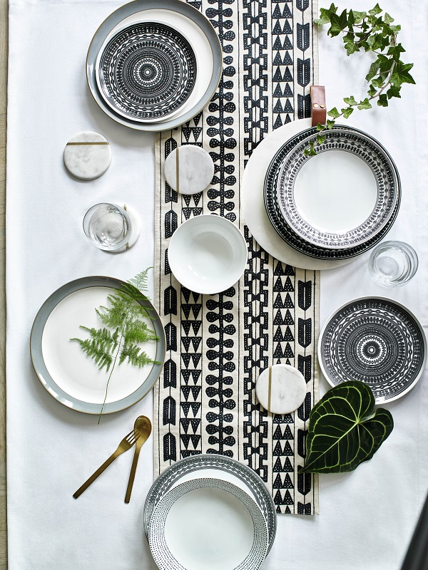 12 piece Lombard dinner set £49.50, Embroidered Work Runner £29.50. All from Marks and Spencer.
