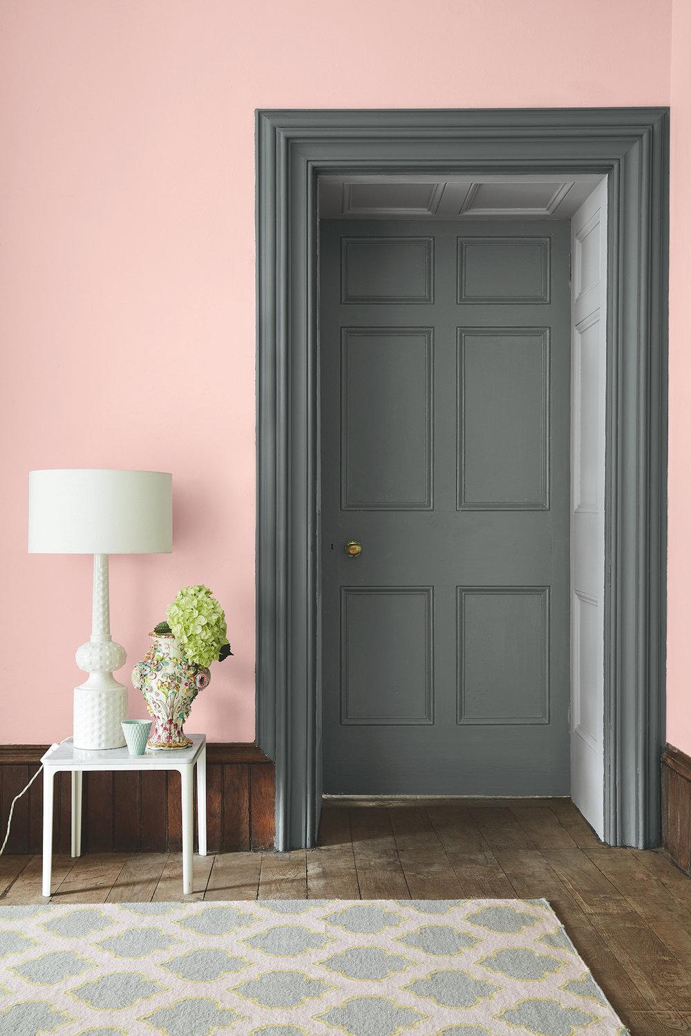 Wall: Confetti 274, Doorframe and Door: Livid 263, Inside Door Panelling: Gauze Dark 166, Above Picture Rail: Lamp Black 228