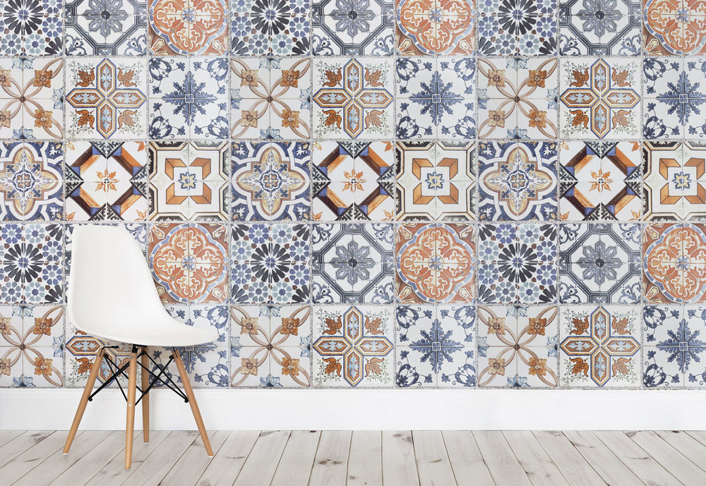 On Trend Tile Effect Wallpaper Heart Home